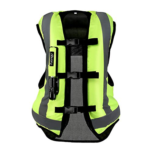 T-Motorcyeing Motorcycle Airbag Vest Reflective Motorcycle Jacket Racing System Motocross Protective Airbag Black Fluorescent Green Air Bag Vest XXL