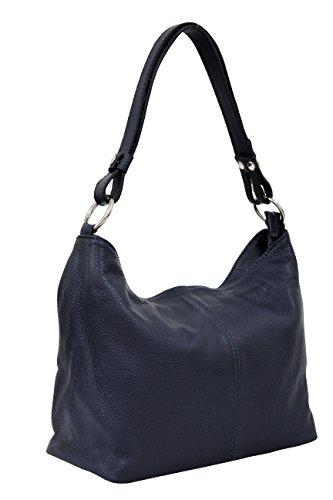 AMBRA Moda Damen Leder Handtasche Schultertasche Umhängetasche Hobo bag GL005 (Dunkelblau)