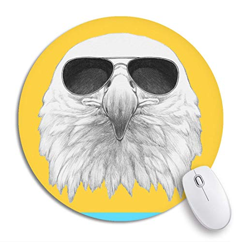 HENTIN 7.9 * 7.9 Inch ronde muismat Dierlijk portret van adelaar Zonnebril Snavel Mooie schoonheid Vogel Antislip rubberen basis Muismat Gaming Mousepad