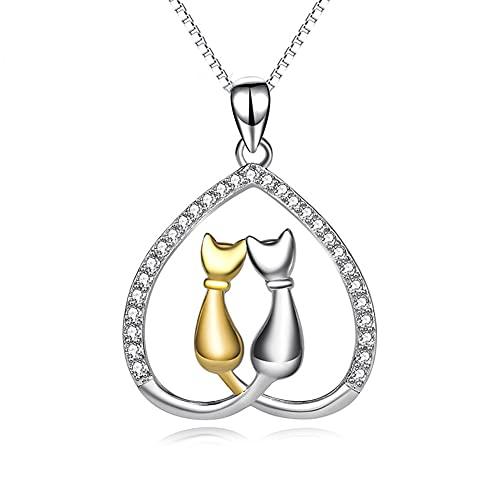 Lafeil Collar de Gato 925 joyería de Plata esterlina Hueca con Forma de corazón Micro Diamante Plateado 18k Colgante de Oro para Novia y Esposa como Regalo conmemorativo