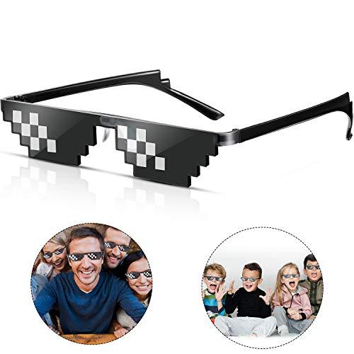 Frienda 3 Paare Pixel Sonnenbrillen Schläger Sonnenbrillen Kunststoff Pixel Sonnenbrillen für Kinder Erwachsene, Schwarz (Klein Zweireihig Pixel)
