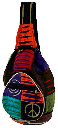 Guru-Shop Hippie Rucksack, Patchwork Nepalrucksack, Herren/Damen, Mehrfarbig, Baumwolle, Size:One Size, 35x23x23 cm, Ausgefallene Stofftasche