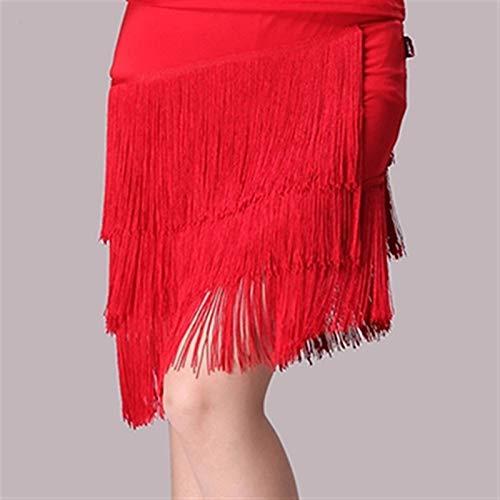ACEACE Las mujeres de las nuevas muchachas latinas de la danza de tres capas de la borla de la falda atractiva Rumba Tango salsa del salón de América Tap Dance Dress danza de la falda Tensel