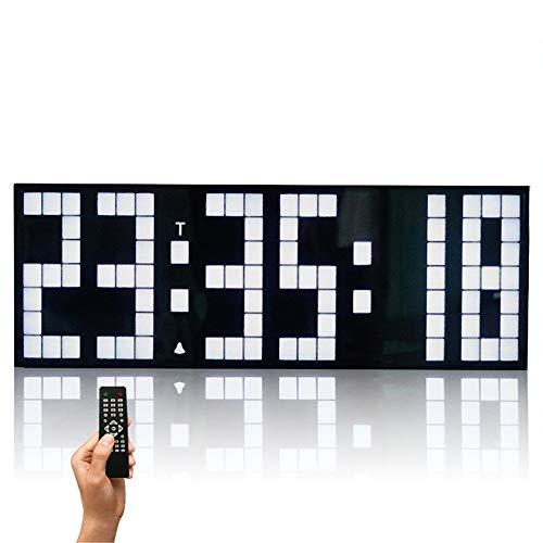 Reloj en Tiempo Real Remoto Jumbo Control Digital de Pared LED Calendario Grande Minuto de Alarma Reloj de Cuenta atrás del Reloj Led para Ejecutar Eventos (Color : White, Size : 24x5.5x8.5cm)