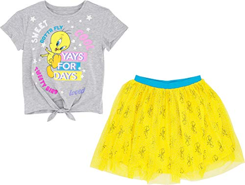 LOONEY TUNES Tweetie Bird Short Sleeve Front Tie T-Shirt and Tulle Printed Skirt (Small 6/6x, Yellow)