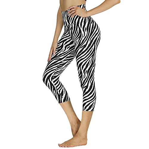 Women's Zebra Print High Waist Capri Leggings