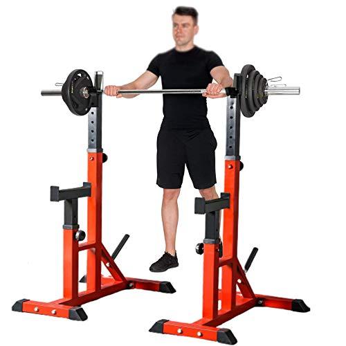 ZDXR8 Squat Rack Barbell Stands, Carga Máxima De 250 Kg, Barras Inmersión Resistentes Jaula con Mancuernas Ajustables, Jaula de Sentadillas Peso Equipo de Formación, Altura Regulable