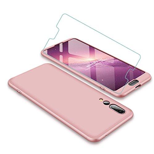 Joytag Funda Huawei P20 Pro 360 Grados Oro Rosa Ultra Delgado Todo Incluido Caja del teléfono de la protección 3 en 1 PC Case + Protectora de película de Vidrio Templado Oro Rosa