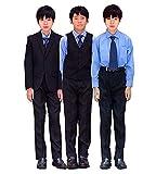 (Buona Vita) 男の子 スーツ 7点セット ブラック 卒業式 入学式 結婚式 キッズ 黒無地 145 150 155 160 七五三 フォーマル (155)