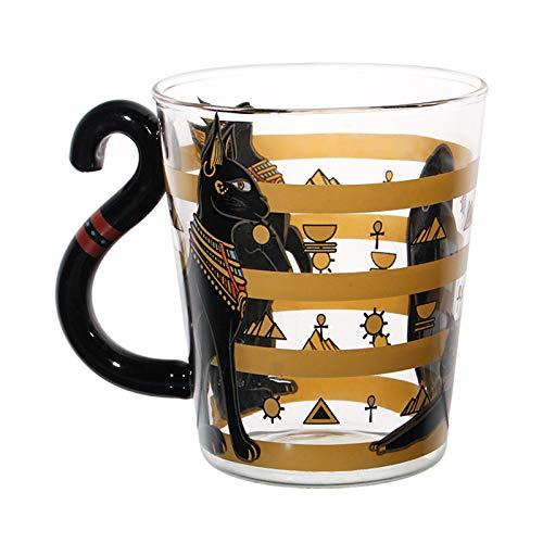 Taza Gato Egipcio Negro, Tazas Vidrio Novedosas, Tazas Vasos Kawaii Sopladas A Mano, Taza De Animal Lindo para Agua, Café, Chocolate Caliente, Leche, Regalos Gatos,Egyptian Cat