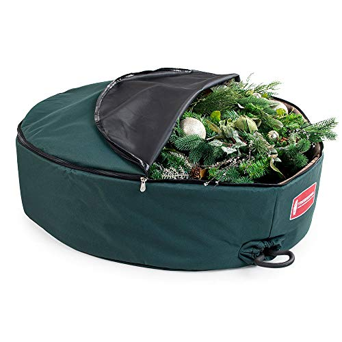 [36 Inch Wreath Storage Container] - for Christmas Wreath up to 36 Inches in Diameter | Bag Hooks Directly to Your Wire Wreath Frames to Prevent Sagging and Deformed Wreaths | Tree Keeper (36-Inch)