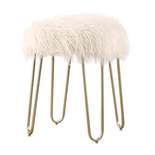 YLCJ voetkrukken voetbank bont voetbank poef taburete fauxfur krukken stoel voor woonkamer vintage slaapkamer bar kruk ontlasting (kleur: gouden voeten, maat: zwart) White long hair Champagne Feet