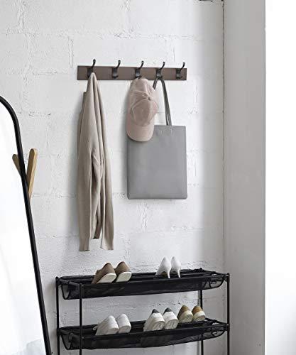 AmazonBasics - Perchero de madera de pared, 5 ganchos modernos 57 cm, Café