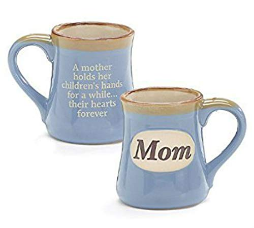 Mom Porcelain Blue Coffee Tea Mug Cup 18oz Gift Box Holds Childs Hands.Hearts