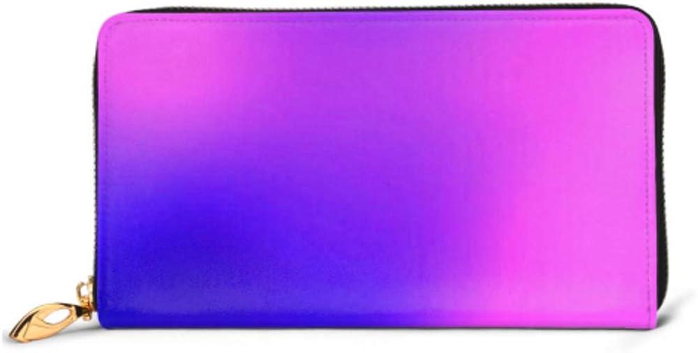 Fashion Handbag Zipper Wallet Pink Blue Purple Violet Gradient Blurred Phone Clutch Purse Evening Clutch Blocking Leather Wallet Multi Card Organiz