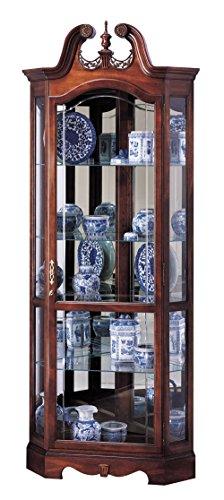 Howard Miller Berg Corner Curio Cabinet 543-024 – Windsor Cherry Glass Display Shelf Case with Light