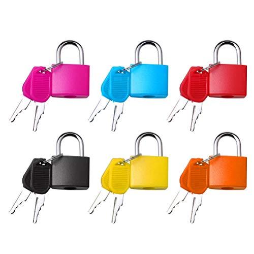 kuou 6 Pcs Suitcase Locks with Keys, Luggage Locks Padlocks Brass Small Padlocks Coloured Metal Padlocks for Travel School Gym