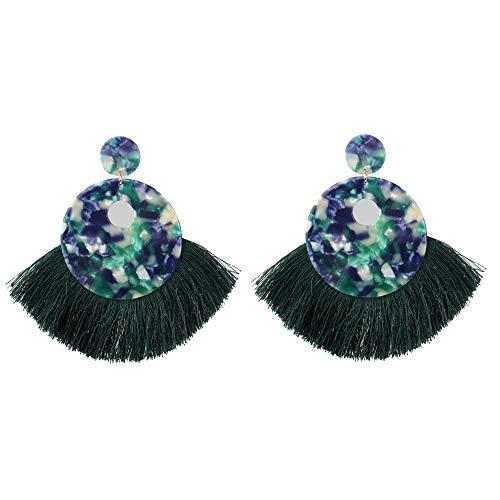 Claire Jin Gemusterte Quaste Tropfen Ethnische Ohrringe für Damen Geometrische Acetatfaser Platte Übertrieben Böhmischen Schmuck Frauen Mode-accessoire 5 Farben (Grün)