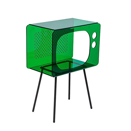 H-CAR End Table Side Table with Storage Compartment Small Acrylic Coffee Table Living Room Bedroom Sofa Table for Home Office (Color : Green)