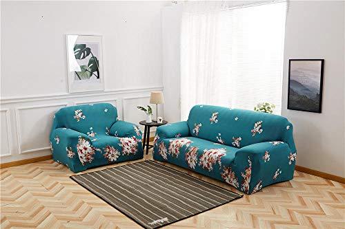 Funda para Sofá 1/2/3/4 Plazas sofá cubierta Protector de Sofás Perros Gatos Para Acolchado Reversible Cubierta Sofa Antideslizante contra Mascotas Polvo y Manchas(Flores azules)1 Plazas:90-140 cm