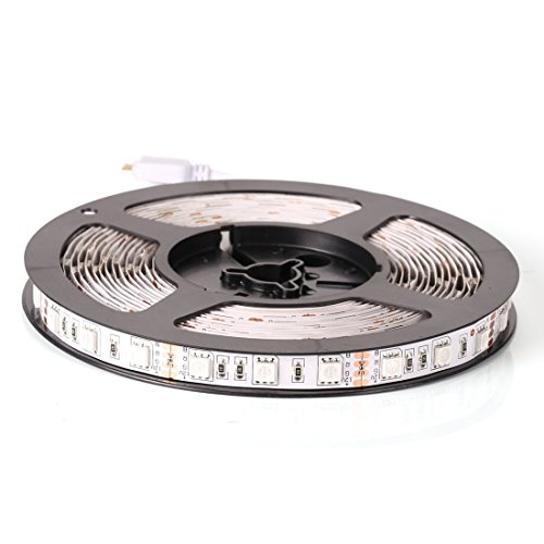 econoLED 12V Flexible SMD 5050 RGB LED Strip Lights, LED Tape, Multi-colors, 300 LEDs, Non-waterproof, Light Strips, Color Changing, Pack of 16.4ft/5m Strips
