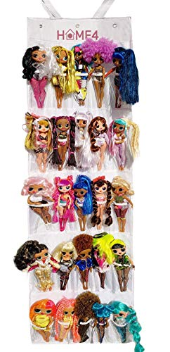 HOME4 Hanging Over The Door Storage Organizer Holder Compatible with Surprise Toys Dolls OMG Bar bie LOL (Clear)