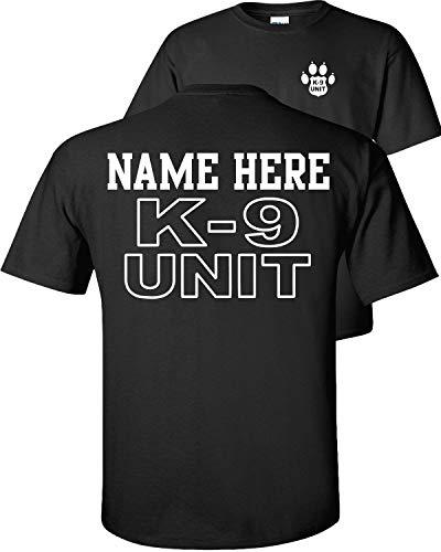 Fair Game Custom K-9 Unit Police Officer T-Shirt K9 Handler Uniform Personalized Text Name ON Back-Black-L