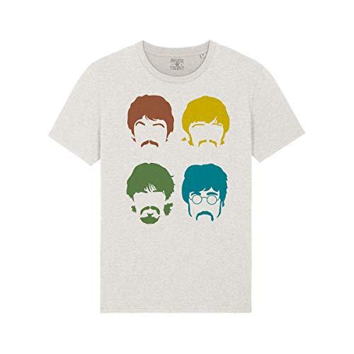 Maglietta Uomo The Beatles Faces Lennon Starr McCartney Harrison Rock Music T-Shirt Man