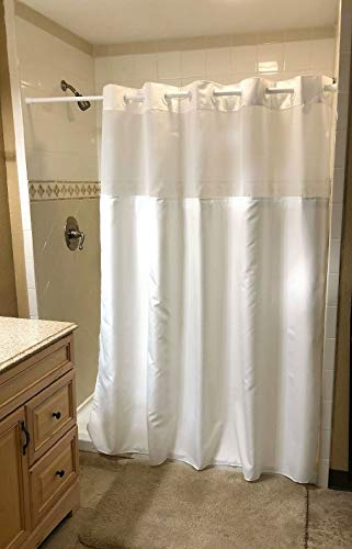 TD Home Luxuries Hookless Shower Curtain - Luxury Hotel/Spa Shower Curtain - White Bathroom Snap-on Liner Curtain - White Shower Curtain - Snap-in Waterproof Shower Liner - Detachable Polyester Liner