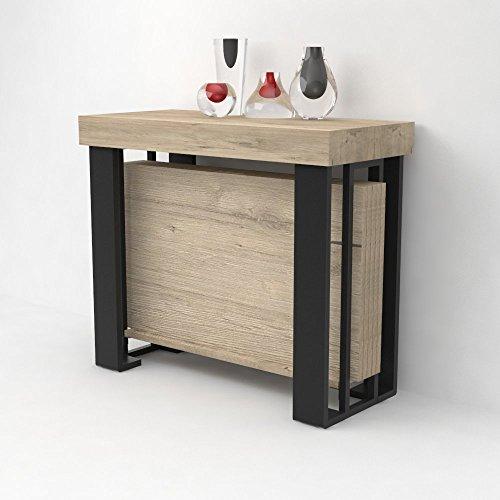 VE.CA. Table console extensible Urano avec porte-rallonges - bois laminé et pieds en acier noir mat - extensible de 40 à 300 cm, en 10 couleurs bois chêne Sherwood