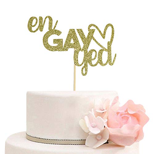 Engayged Cake Topper for Gay Lesbian Engagement Party Decorations, Funny Engaged Cake Toppers, Gold Glitter