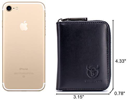 BULLCAPTAIN Genuine Leather Men Wallet Card Holder Cards Zipper Credit Card Pack Case Purse 2