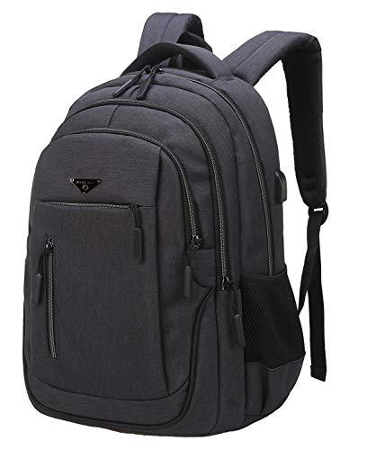 Laptop Rucksack, Schulrucksack Jungen Teenager mit USB Ladeanschluss Daypack Business Taschen für Herren Rucksack Schule Arbeit Reisen (01 Dunkelgrau, 15,6 Zoll)