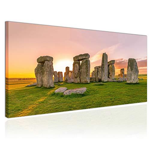 Topquadro XXL Wandbild, Leinwandbild 100x50cm, Stonehenge bei Sonnenuntergang, Steine und Felsbrocken, England - Panoramabild Keilrahmenbild, Bild auf Leinwand - Einteilig