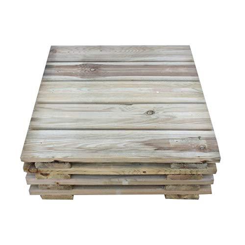 Mattonelle per Esterno in Legno di Pino Impregnato 50x50 cm, Confezione 4 Piastrelle - 1 Mq, Pavimento per Giardino Spessore 3,8 cm