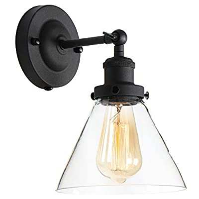 Edison Wall Sconce Retro Industrial Simplicity Style, Premium Black Finish Vintage Wall Lamp, Wall Light Fixture with Adjustable Arm Angle, Classical Funnel-Shaped Hand-Made Clear Glass Lampshade
