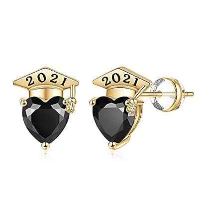 2021 Graduation Gifts Heart Stud Eaarings, S925 Sterling Silver Post Hypoallergenic Graduation Stud Earrings Gold Plated Heart Black Cubic Zirconia Stud Earrings Graduation Gifts for Women