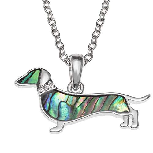 Kiara Jewellery Collar con colgante de perro salchicha con incrustaciones de concha de abulón de...
