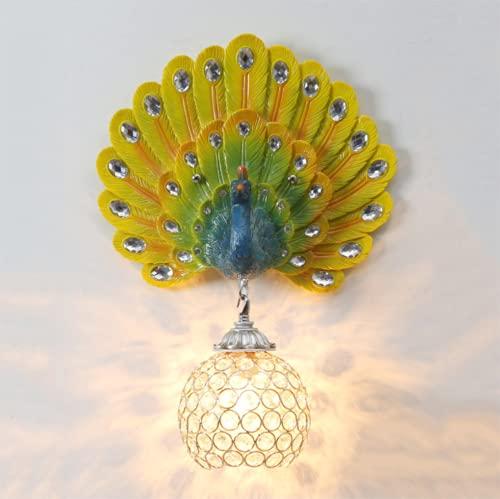 FMGR Aplique Pared Interior LED Lámpara De Pared Moderna para Salon Dormitorio Sala Pasillo Escalera,Lámpara De Pared De Pavo Real De Cristal,Multi Colored