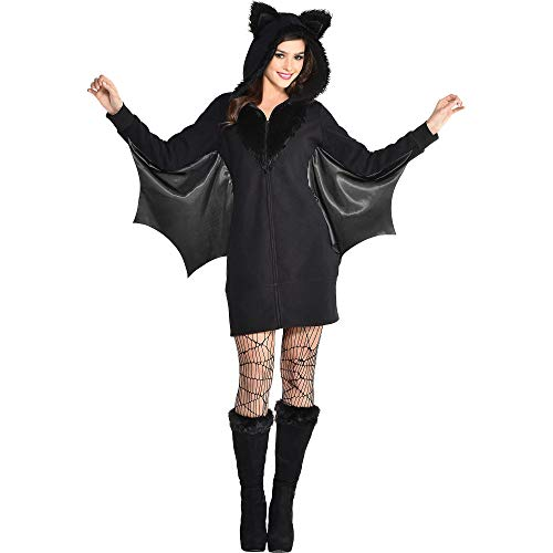 Party City Bat Zipster Costume for Adults, Large/X-Large, Includes Black Dress and Bat Ears