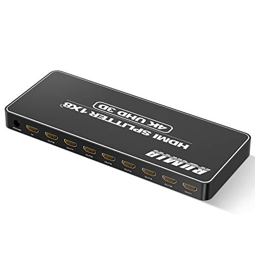 Upgraded 2021 Hdmi Splitter 1 in 8 Out V1.4b Powered Hdmi Video Splitter with AC Adaptor, Power HDMI Supports 3D Full HD 1080P for Xbox, PS4 PS3 Fire Stick Blu Ray Apple TV HDTV