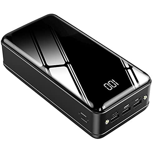 XLBHSH 50000Mah Power Bank Cargador Portátil Cargador De Carga Rápida Cargador De Teléfono Celular Cargador Cargador Powerbank Paquete De Batería Externa 3 UBS para iPhone 12, Android,Negro