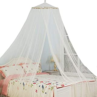 South To East King Size Bed Canopy, Ivory Color Mosquito Net for Indoor/Outdoor, Camping or Bedroom Fit A King Size Bed, Made by Fire Retardant Fabric