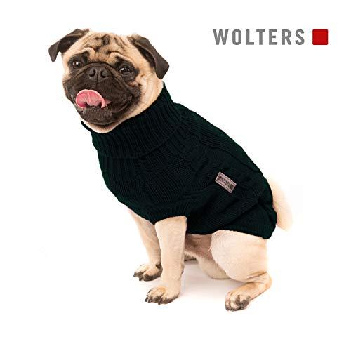 Wolters | Zopf-Strickpullover für Mops&Co in Schwarz | Rückenlänge 30 cm