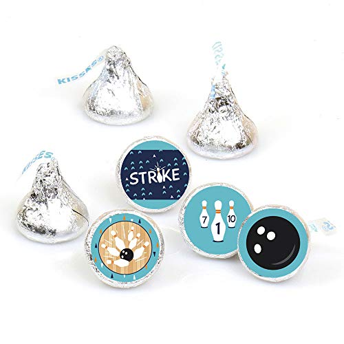 Big Dot of Happiness Strike Up the Fun - Bowling - Birthday Party or Baby Shower Round Candy Sticker Favors - Labels Fit Hershey's Kisses (1 Sheet of 108)