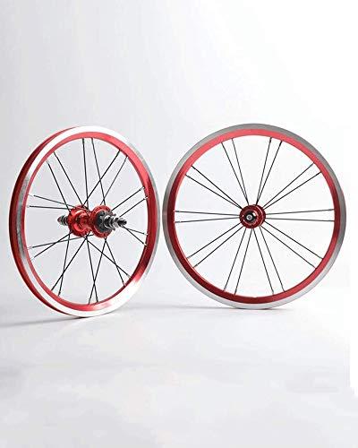 Juego de Ruedas de Bicicleta de 20 Pulgadas Ruedas de aleación de Aluminio de Doble Capa Ruedas Delanteras y traseras de Bicicleta Plegables Buje de rodamiento