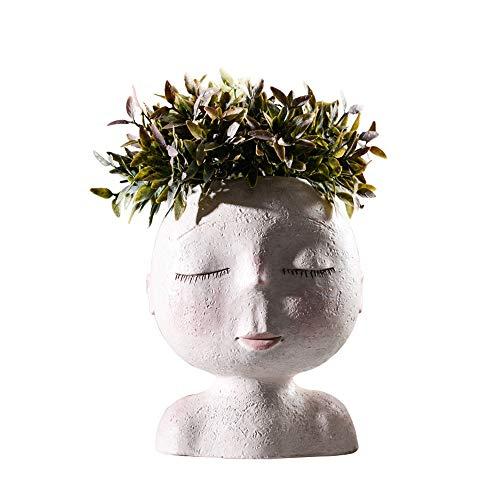JKXWX creatieve hars kunst bloempot, menselijk hoofd pop vaas, Indoor opslag rek Home Desktop decoratie ambachten