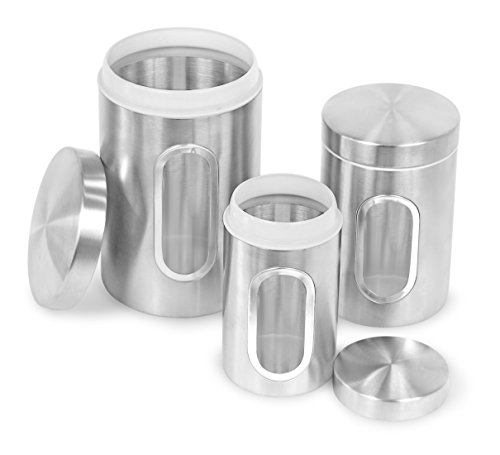 Internet's Best Stainless Steel Storage Canisters - Set of 3 - Kitchen Food Coffee Tea Pasta Sugar Flour Container - Storage Jar with Window