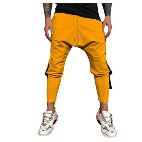 GreatestPAK Pants Eng anliegende einfarbige Jogginghose für Herren lässig im Freien mit Mehreren Taschen Arbeitshose Lange Cargohose,Gelb,2XL
