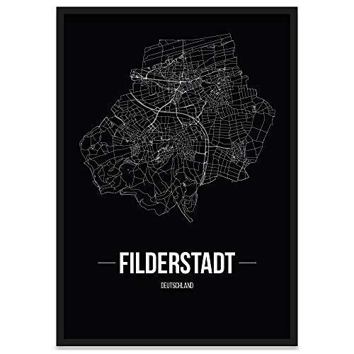 JUNIWORDS Stadtposter, Filderstadt, Wähle eine Größe, 30 x 40 cm, Poster mit Rahmen, Schrift B, Schwarz
